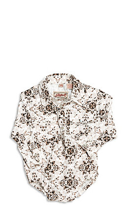 Rafter C Infant Ivory with Brown Medallion Print Long Sleeve Western Onesie