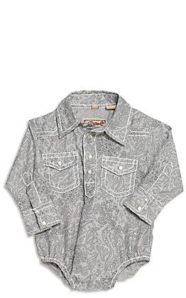 Rafter C Infant Grey Paisley Print Long Sleeve Western Bodysuit