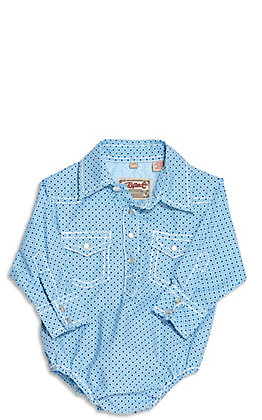 Rafter C Infant Blue Geo Print Long Sleeve Western Bodysuit