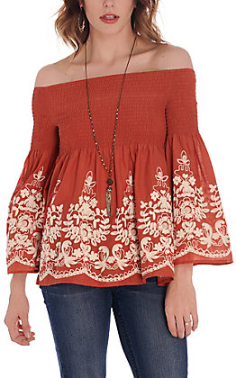 Rockin C Women's Rust with White Floral Embroidery Smocked Bell Sleeve Fashion Top