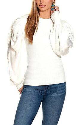 Rockin C Women's Winter White Puffed Sleeve Sweater