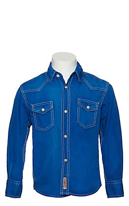 Rafter C Boy's Blue Wash Long Sleeve Western Shirt