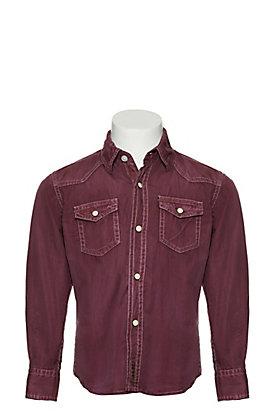 Rafter C Boy's Maroon Wash Long Sleeve Western Shirt