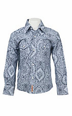 Rafter C Cowboy Collection Boy's Wall Paper Print L/S Western Snap Shirt