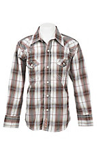 Rafter C Boy's Brown and White Plaid Long Sleeve Western Snap Shirt