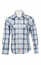 Rafter C Cowboy Collection Boy's Blue and White Plaid L/S Western Snap Shirt
