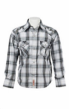 Rafter C Cowboy Collection Boy's Black and White Plaid L/S Western Snap Shirt