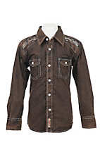 Rafter C Boy's Brown Acid Wash Long Sleeve Western Snap Shirt