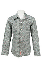 Rafter C Boys Blue and Grey Medallion Print S/S Western Snap Shirt