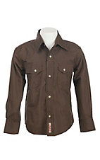Rafter C Boys Brown Paisley Print L/S Western Snap Shirt