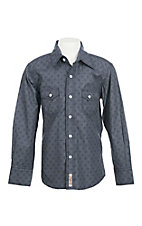 Rafter C Boy's Grey Medallion Print Long Sleeve Western Shirt