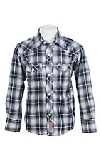 Rafter C Boys Blue and White Plaid L/S Western Snap Shirt