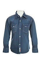 Rafter C Cowboy Collection Boy's Blue L/S Western Snap Shirt