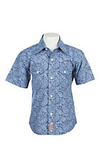 Rafter C Cowboy Collection Kids Blue Stripe Paisley Western Snap S/S Shirt