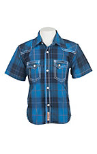 Rafter C Cowboy Collection Kids Blue Plaid Western Snap S/S Shirt