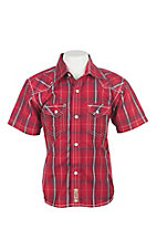 Rafter C Cowboy Collection Kids Red Plaid Western Snap S/S Shirt