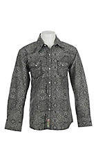 Rafter C Cowboy Collection Kids Grey with Black Print Western Snap L/S Shirt