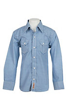 Rafter C Cowboy Collection Kids White with Blue Print Western Snap L/S Shirt