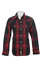 Rafter C Cowboy Collection Kids Red and Black Plaid Western Snap L/S Shirt