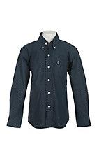 Rafter C Cowboy Collection Kids Navy with Black Mini Print Western L/S Shirt