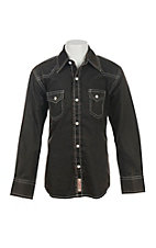 Rafter C Cowboy Collection Kids Brown with Black Acid Wash Western Snap L/S Shirt