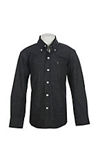 Rafter C Cowboy Collection Kids Black Mini Print Western Shirt L/S Shirt