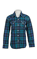 Rafter C Cowboy Collection Kids Blue and Black Plaid Western Snap L/S Shirt