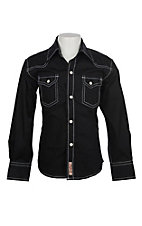 Rafter C Cowboy Collection Boys Solid Black w/ White Stitching L/S Western Snap Shirt