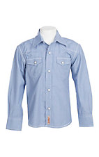Rafter C Cowboy Collection Boys Blue Gingham L/S Western Snap Shirt