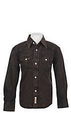 Rafter C Boy's Black Acid Wash Long Sleeve Snap Western Shirt