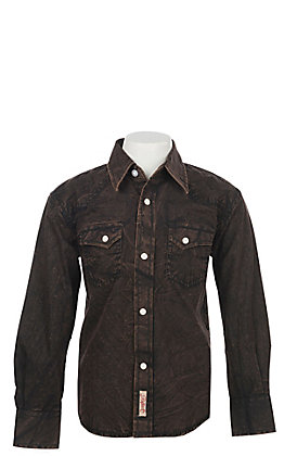 Rafter C Boys' Black Acid Wash Long Sleeve Snap Western Shirt
