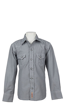 Rafter C Cowboy Collection Boys' Black Micro Gingham Long Sleeve Western Snap Shirt