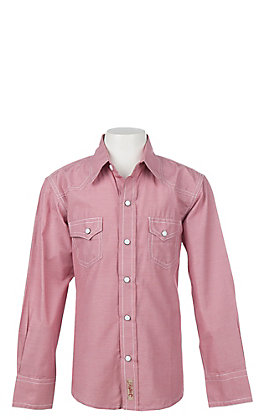 Rafter C Cowboy Collection Boys' Red Micro Gingham Long Sleeve Western Snap Shirt