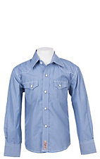 Rafter C Cowboy Collection Boys Blue Micro Gingham L/S Western Snap Shirt