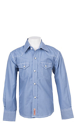 Rafter C Cowboy Collection Boys' Blue Micro Gingham L/S Western Snap Shirt