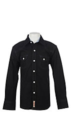 Rafter C Cowboy Collection Boys Black  L/S Western Snap Shirt