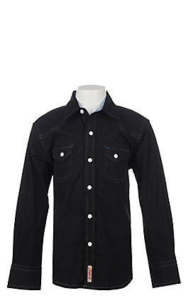 Rafter C Cowboy Collection Boys' Black  Long Sleeve Western Snap Shirt