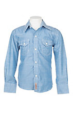 Rafter C Cowboy Collection Boy's Solid Blue w/ White Stitching L/S Western Snap Shirt