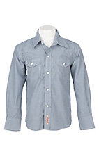 Rafter C Cowboy Collection Boys Navy Checkered L/S Western Snap Shirt