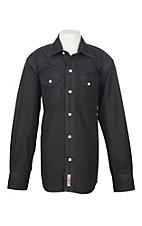 Rafter C Cowboy Collection Boys Black Geo Print L/S Western Snap Shirt
