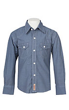 Rafter C Boys Navy Blue Geo Diamond Print Western Snap Shirt