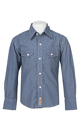 Rafter C Boys Navy Blue Geo Diamond Print Western Snap Shirt