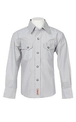 Rafter C Boys Black and Khaki Geo Print L/S Western Snap Shirt