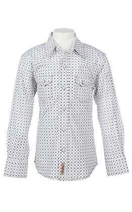 Rafter C Cowboy Collection Boys White Geo Print L/S Western Snap Shirt