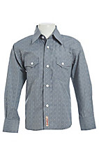 Rafter C Cowboy Collection Boys Grey Medallion Print L/S Western Snap Shirt