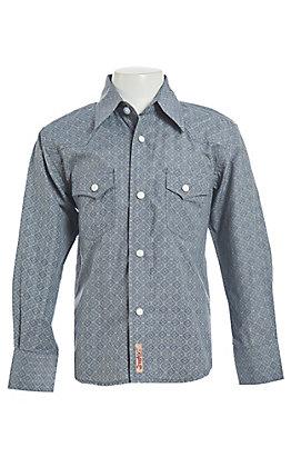Rafter C Cowboy Collection Boys Grey Medallion Print L/S Western Snap Shirt