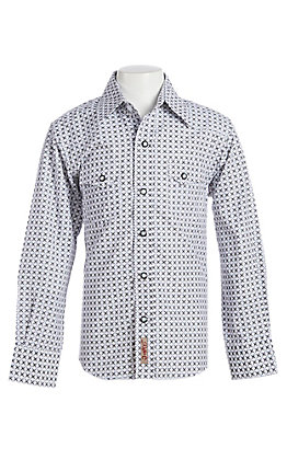 Rafter C Cowboy Collection Boys' White Geo Print Long Sleeve Western Snap Shirt