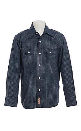 Rafter C Boys Navy Diamond Print Long Sleeve Western Shirt