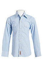 Rafter C Cowboy Collection Boys Blue Geo Print L/S Western Snap Shirt