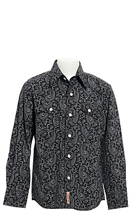 Rafter C Boys' Black Paisley Print Long Sleeve Western Shirt